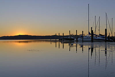 Sunrise At Belle Haven Marina In Alexandria Virginia Poster by Brendan Reals