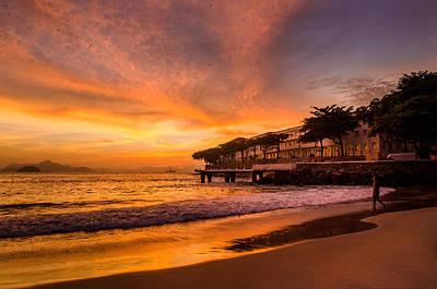 Sunrise At Copacabana Beach Rio De Janeiro Poster by Celso Bressan