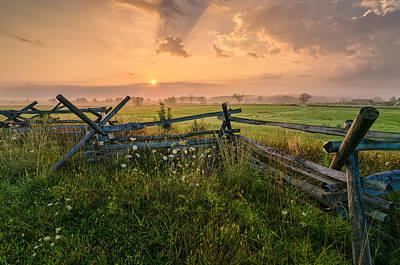 Sunrise At Gettysburg National Park Poster by Craig Szymanski