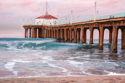 Sunrise At Hermosa Beach Pier  Poster