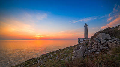 Sunrise At Lighthouse Of Palascia Poster by Angelo Perrone