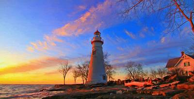 Sunrise At Marblehead Lighthouse Panorama Poster by Dan Sproul
