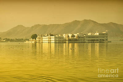 Poster featuring the photograph Sunrise At Pichola Lake Palace by Yew Kwang