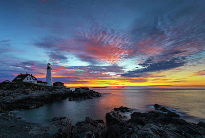 Poster featuring the photograph Sunrise At Portland Head Light by Juergen Roth