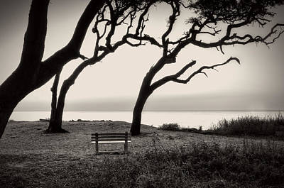Sunrise At The Bench In Black And White Poster