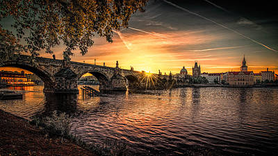 Sunrise At The Charles Bridge Poster