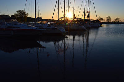 Sunrise At The Marina  Poster by Lyle Crump