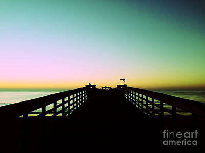 Sunrise At The Myrtle Beach State Park Pier In South Carolina Us Poster