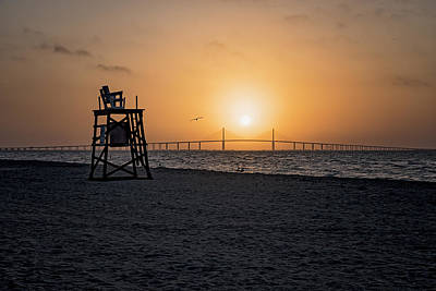 Sunrise At The Skyway Bridge Poster