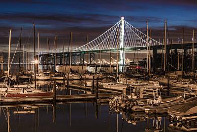 Sunrise Bay Bridge And Boats Poster by John McGraw