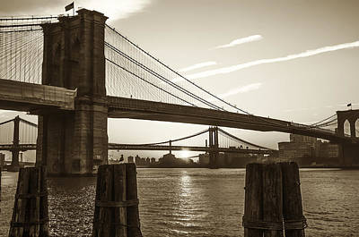Sunrise - Brooklyn And Manhattan Bridges In Sepia Poster by Bill Cannon