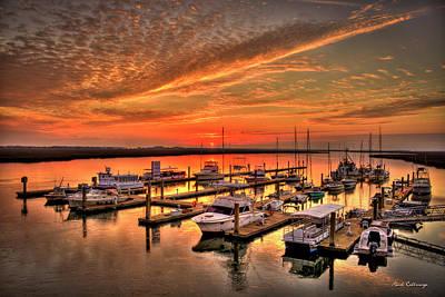 Sunrise Bull River Marina Tybee Island Savannah Art Poster by Reid Callaway