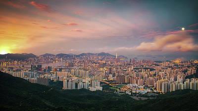 Sunrise Day To Night Shot  Hong Kong And Kowloo Poster by Anek Suwannaphoom