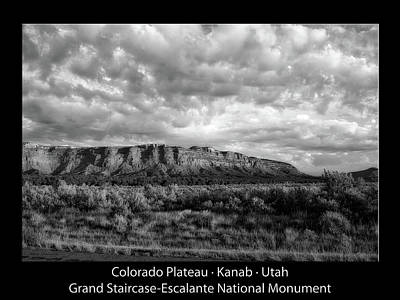 Sunrise Grand Staircase Escalante National Monument Utah Text Bw Black Poster