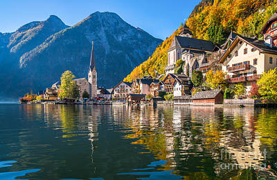Sunrise In Hallstatt Mountain Village With Colorful Autumn Landscape Poster by JR Photography