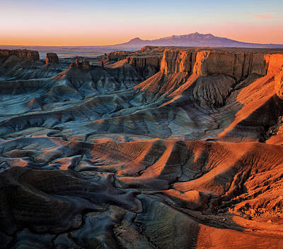 Poster featuring the photograph Sunrise In The Badlands. by Johnny Adolphson