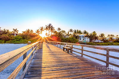 Poster featuring the photograph Sunrise Naples Pier Florida by Hans- Juergen Leschmann