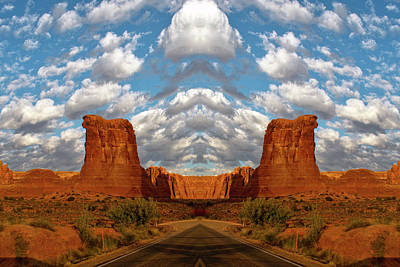 Sunrise On Arches National Park Utah 05 Mirrored Images Poster