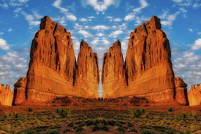 Sunrise On Arches National Park Utah 17 Mirrored Image Poster
