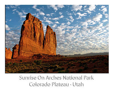 Sunrise On Arches National Park Utah 17 Text Poster