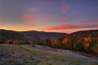 Poster featuring the photograph Sunrise On Jenne Farm - Vermont Autumn by Joann Vitali