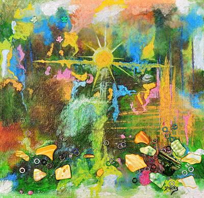 Sunrise On Lily Pond Poster by Donna Blackhall