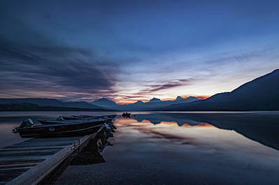Poster featuring the photograph Sunrise On Mcdonald Lake by Lon Dittrick