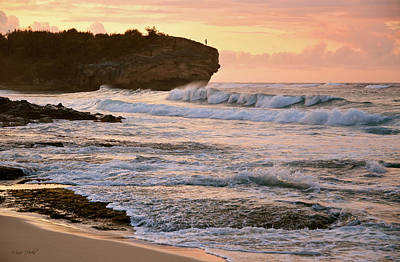 Sunrise On Shipwreck Beach Poster