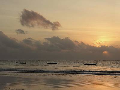 Sunrise On The Beach With Wooden Dhows Poster