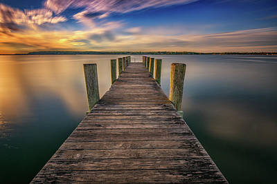 Sunrise On The Dock By The Peconic River Poster