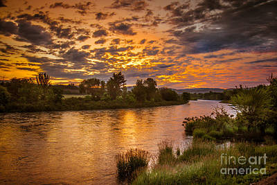 Sunrise On The Payette River Poster