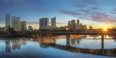 Sunrise Over Downtown Austin And Lady Bird Lake Pano 2 Poster by Rob Greebon