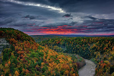 Sunrise Over Genesee River Gorge Poster by Rick Berk