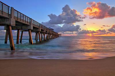 Sunrise Over Juno Beach Pier In Florida Poster