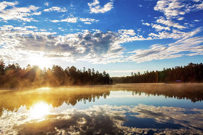 Sunrise Over Misty Lake In Payson Arizona Poster