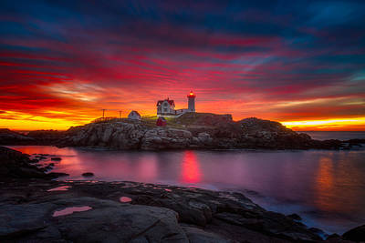 Sunrise Over Nubble Light Poster by Darren  White