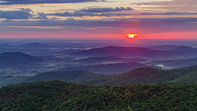 Poster featuring the photograph Sunrise Over The Blue Ridge by Lori Coleman