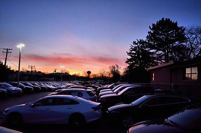 Sunrise Over The Car Lot Poster