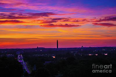 Sunrise Over The Washington Monument Poster