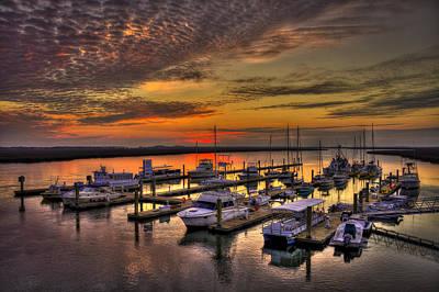 Sunrise Over Tybee Bull River Marina Poster by Reid Callaway