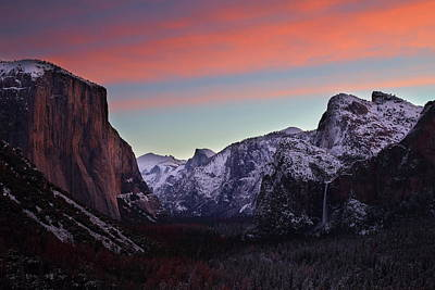 Poster featuring the photograph Sunrise Over Yosemite Valley In Winter by Jetson Nguyen
