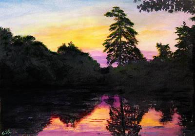 Sunrise Pond Maryland Landscape Original Fine Art Painting Poster