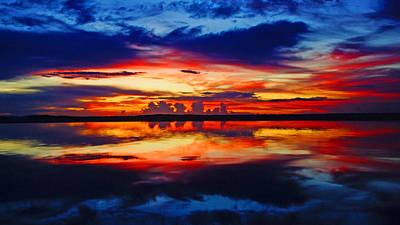 Sunrise Rainbow Reflection Poster