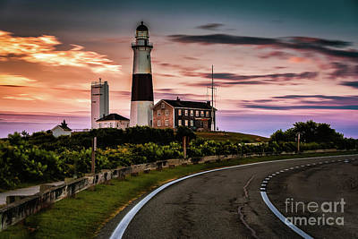 Sunrise Road To The Montauk Lighthous Poster