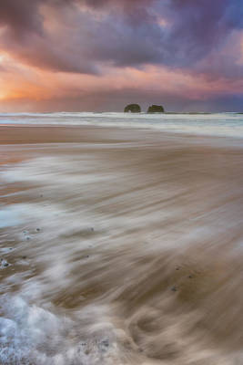 Poster featuring the photograph Sunrise Storm At Twin Rocks by Darren White