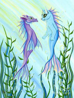 Poster featuring the painting Sunrise Swim - Sea Dragon Mermaid Cat by Carrie Hawks