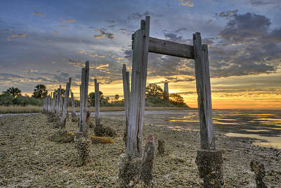 Sunrise Through The Pilings Poster by Don Mercer