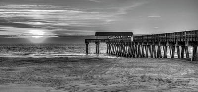 Poster featuring the photograph Suns Up Tybee Pier Bw Tybee Island Georgia Art by Reid Callaway