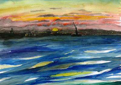 Poster featuring the painting Sunset 29 San Diego Harbor by Brian Meyer