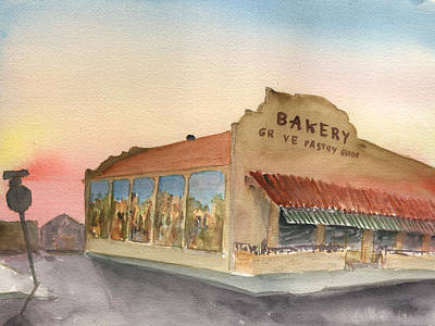 Poster featuring the painting Sunset 38 Grove Pastry Shop by Brian Meyer
